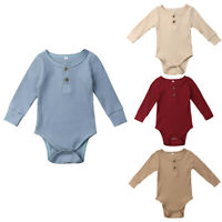 Toddler Newborn Baby Girl Boys Long Sleeve Romper Bodysuit Jumpsuit Outfit 0-24M