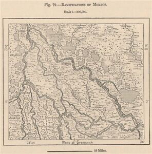 Ramifications of Mompos (Santa Cruz de Mompox) Colombia 1885 old antique map