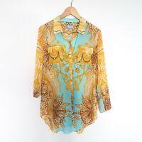 Bettina Liano Womens Size 10 Sheer Blue Gold Loud Pattern Button Blouse Top