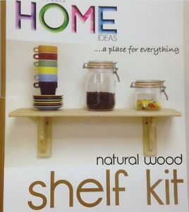 Natural PINE Wood Wooden Shelf Storage Stand Kit & Fittings Wall Mounted Shelves