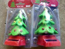 2- christmas tree x-mas green BOBBLE TOY SOLAR POWER CAR DASH OFFICE DESK GIFT