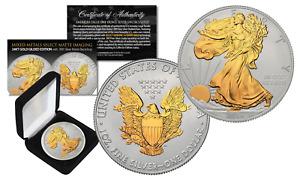 2016 U.S. SILVER EAGLE 1oz Coin MIXED-METALS 24KT GOLD w/ Silver MATTE Backdrop