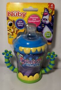 Nuby iMonster GripN'Sip Sippy Cup - No Spill - SoftFlex Valveless Silicone Spout