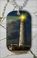 LIGHTHOUSE LIGHT IN THE SEA NIGHT LANDSCAPE DOG TAG NECKLACE FREE CHAIN -itc3Z