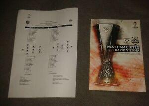 West Ham United v Rapid Vienna Programme + FREE Team Sheet 30/9/2021 NEW