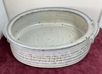 "MCM Hand Thrown Studio Art Pottery Casserole Bowl with Handles Signed: ""mf 4 85"""