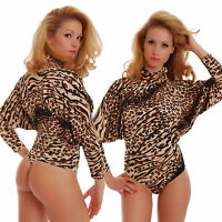 Viscose Womens Bodysuit Turtle mock neck Long sleeve Thong Blouse Tiger 1677