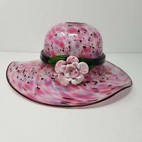 "Block Crystal Hand Blown Art Glass Hat Bowl Pink Confetti w/ Flower 11"""