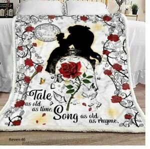 Beauty and The Beast Tale as Old as Time Quilt, Fleece Blanket Printing In Us