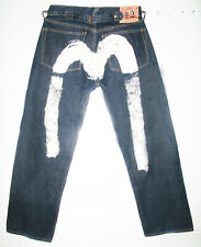*HOT Men EVISU No:2 RELAXED LOOSE DARK RAW PAINTED Denim Jeans 32x30 (Fit 30x29)