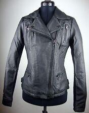 STREET ONE Leather Jacket Damen Lederjacke Bikerstyle Black Gr.34 NEU mit ETIKET