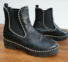 EGO Black Studded Ankle Boots UK 5 Biker Flat