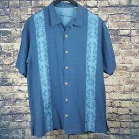 Tommy Bahama Mens Silk Blue Panel Hawaiian Camp Shirt Sz XL