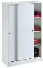 Armario bajo zapatero auxiliar blanco brillo de 2 puertas correderas y estantes