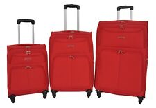 Travel Bags Soft Suitcases RED 4 Wheel Luggage Lightweight Expandable Trolley