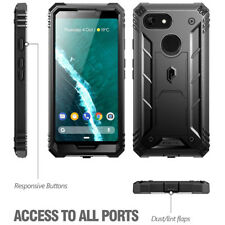 For Google Pixel 3 Poetic Revolution Built-in-Screen Protector Rugged Case Black