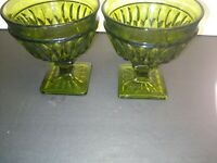 VINTAGE MT VERNON GREEN BY INDIANA GLASS CO- SET OF TWO (2)  CHAMPAGNE / SHERBET