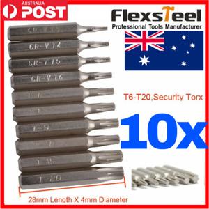 10pc CR-V Torx Bit Set T3,T4,T5,T6,T7,T8,T9,T10,T15,T20T6-T20 Security torx tx10