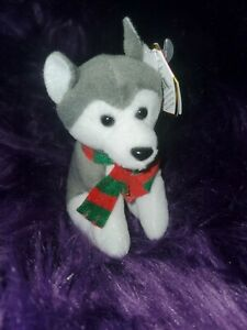 "2009 TY Holiday Baby Beanies SLEDS Husky 4"" Christmas Ornament Plush nwt"
