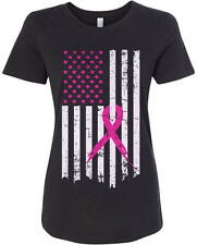 Pink Ribbon Breast Cancer Awareness Flag Women's Fitted T-Shirt