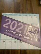 2021 BIG PRINT WALL CALENDAR ORGANIZER EXTRA LARGE WRITING SPACES 10x11 / SEALED