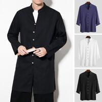 Men's Japanese Kimono Long Sleeve Cotton Linen Shirts Long Cardigan Coat Top Tee