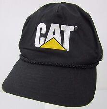 CAT Caterpillar Black White Gold Logo Black Mesh Trucker Hat Double Snapback
