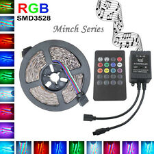 5M 3528 RGB LED Strip Flexible Light DC12V+Music IR Remote Controller Home Decor