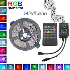 5M 3528 RGB LED Strip Flexible Light DC12V+Music IR Remote Controller Home Decor