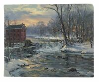 Vintage Postcard Winter Scene House by River (Unposted)