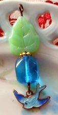 #1438Q Vintage Bird Pendant Enamel Dangle Blue Bluebird Czech Leaf Jade Sapphire