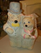 Vtg Cast Art Industries 1991 Hand Crafted Wedding Bears Figurine Signed, Mexico