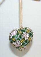 Vintage Cloisonné Heart Ornament Puffy Enamel Metal Floral