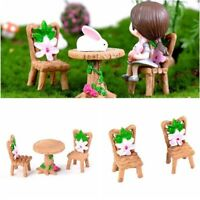 Creative Fairy Garden Miniature Table Chair Resin Craft Micro Landscape Ornament