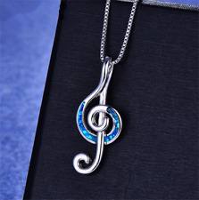 Fashion 925 Silver Jewelry Note Blue Fire Opal Charm Pendant Necklace Chain !!