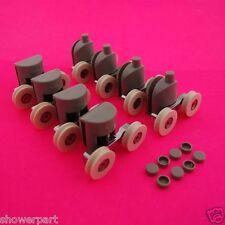 Set di 8 DOCCIA DOPPIA PORTA RULLI / corridori scanalate 22mm RUOTE DIAMETRO L016