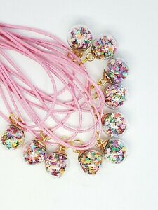 Birthday party favors ☆ Lot of 10 ☆Necklaces ☆Glitter Star Balls☆Pink Cords☆