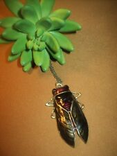 FAUX BRONZE WITH OLIVE RED ENAMEL CICADA BEETLE BUG LONG CHAIN PENDANT NECKLACE