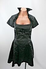 Living Dead Souls Gothic Black Animal Print Steampunk Halter Dress S NEW NWT