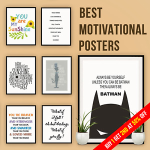 Latest Motivational Quotes Poster Inspirational Wall Arts Home Décor with Frame