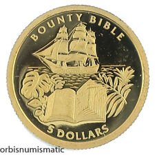 2005 PITCAIRN 5 DOLLARS BOUNTY BIBLE RARE 1/25 OZ 999 GOLD PROOF COIN UNC #AA19