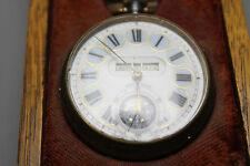 Antique 19th Century Moonphase & 3 Apertures Gun Metal Fob Watch w Original Case