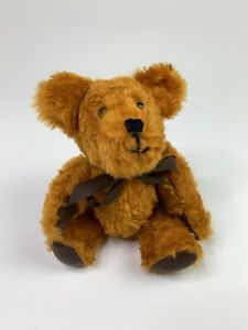 """Vintage Handmade 11"""" Teddy Bear with Leather Paw Pads Possibly 1970's?"""