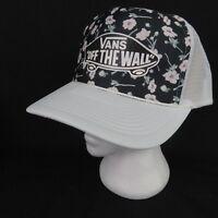 Vans Off The Wall Pink Black Floral Classic Logo Mesh Trucker Snapback Hat Skate