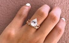 Rose Gold Pear Tear Drop Shape Diamonds Engagement Wedding Bridal Set Ring Halo