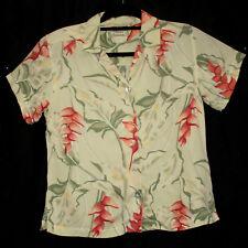 Ladies 100% Hawaiian Silk Shirt Tommy Bahama Ginger Flowers- Size Small