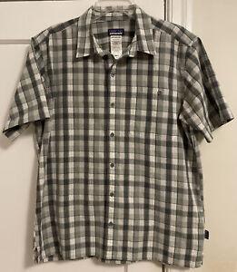 Patagonia Logo Puckerware Organic Cotton/Poly S/S Button Down Shirt Men's Sz L!