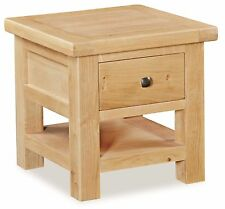 Helford Oak Lamp Table with Drawer / Light Oak Side Table / Square Coffee Table