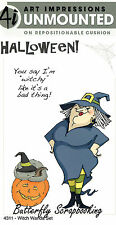 HALLOWEEN Witch Wanda Set Cling Unmounted Rubber Stamps AI Art Impression NEW