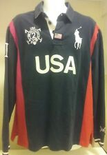 VTG POLO Ralph Lauren Long Sleeve Navy Shirt Rugby Snow Challenge Cup USA XL